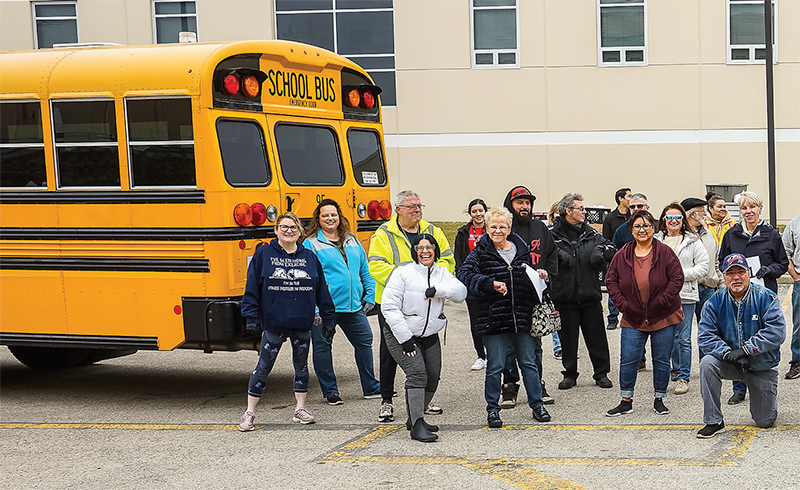 volunteers packed 11 buses for food distribution