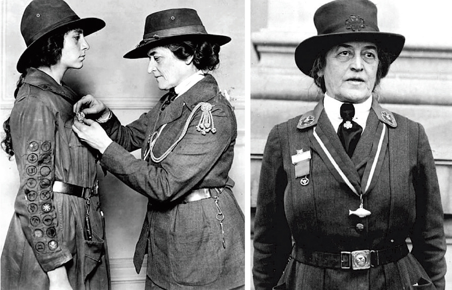 Juliette Gordon Low officiates at a Girl Scout event.