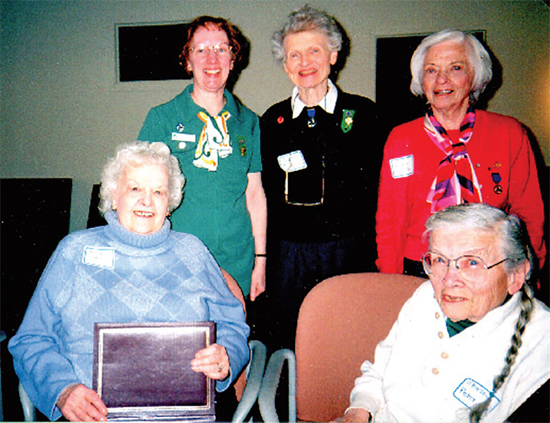 In 2007, Girl Scout alumnae gather for the 75th anniversary of the Barrington Girl Scouts founding (1932)